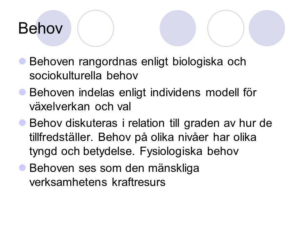 Behov Behoven rangordnas enligt biologiska och sociokulturella behov