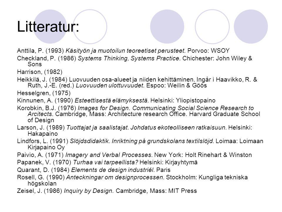Litteratur: Anttila, P. (1993) Käsityön ja muotoilun teoreetiset perusteet. Porvoo: WSOY.