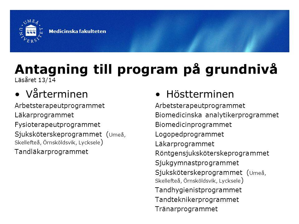Antagning till program på grundnivå Läsåret 13/14