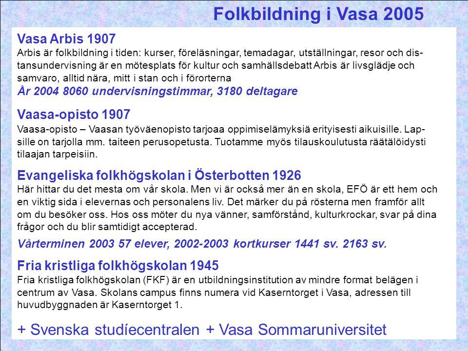 Folkbildning i Vasa 2005 Vasa Arbis 1907.