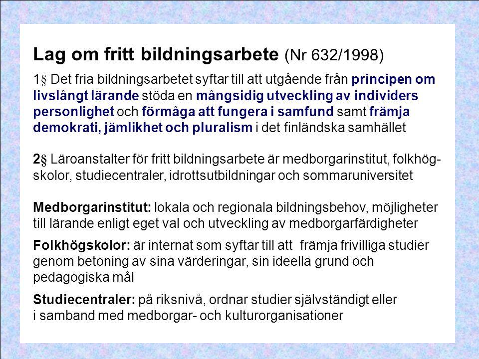 Lag om fritt bildningsarbete (Nr 632/1998)