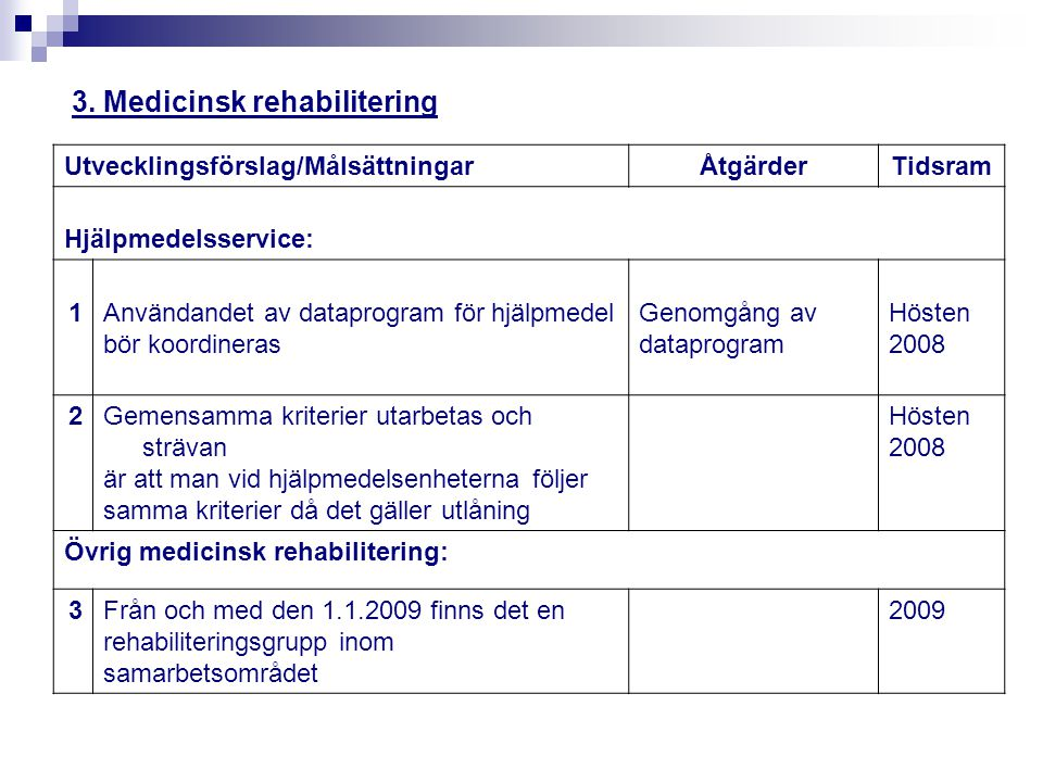 3. Medicinsk rehabilitering