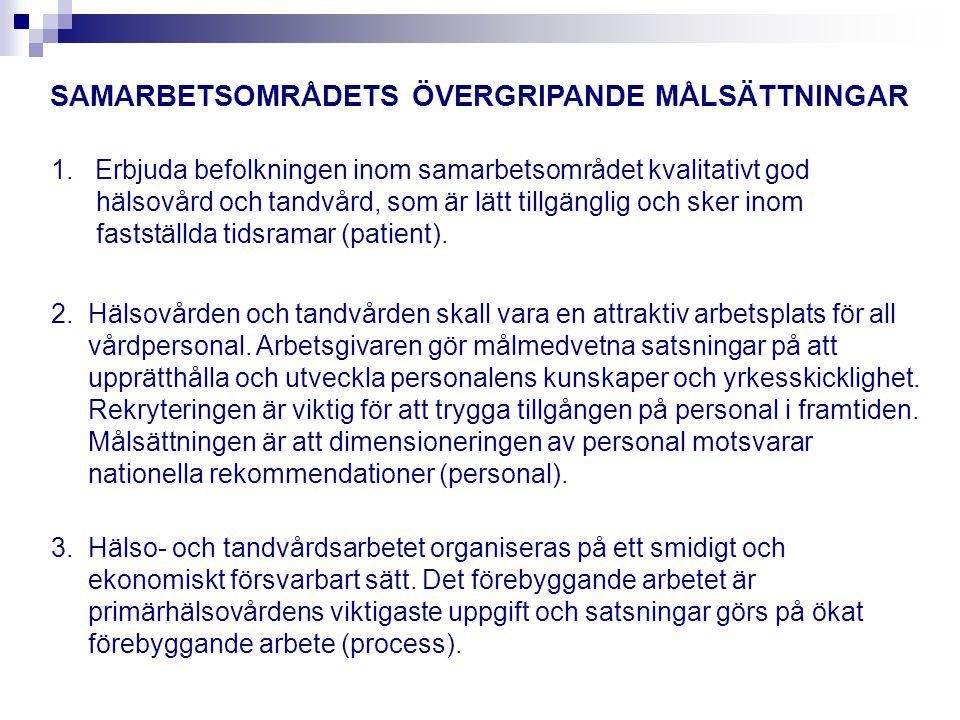 SAMARBETSOMRÅDETS ÖVERGRIPANDE MÅLSÄTTNINGAR
