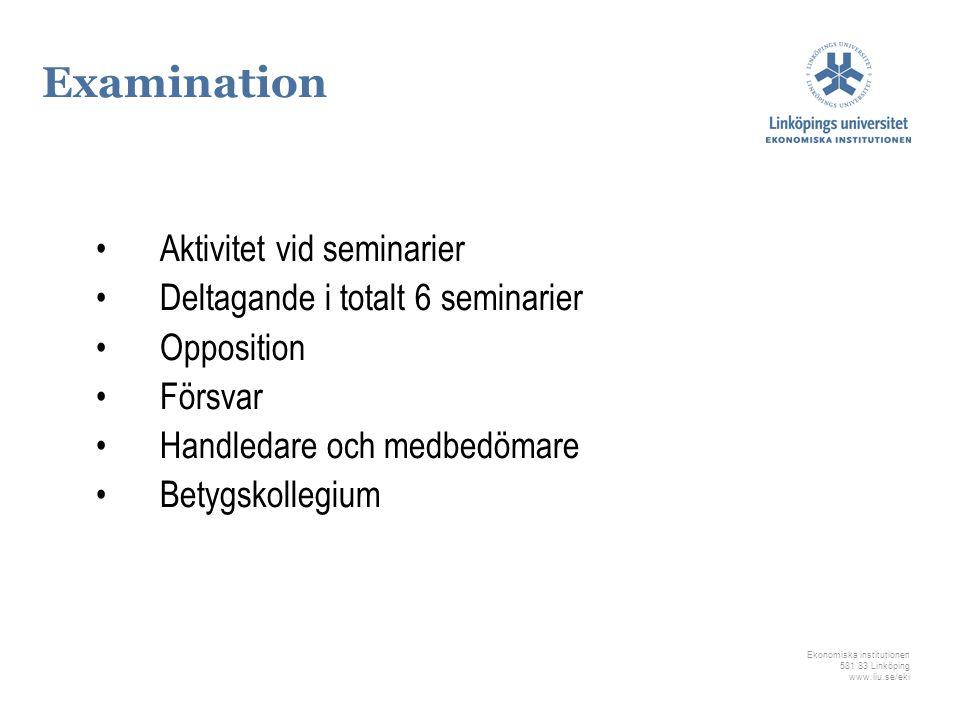 Examination Aktivitet vid seminarier Deltagande i totalt 6 seminarier