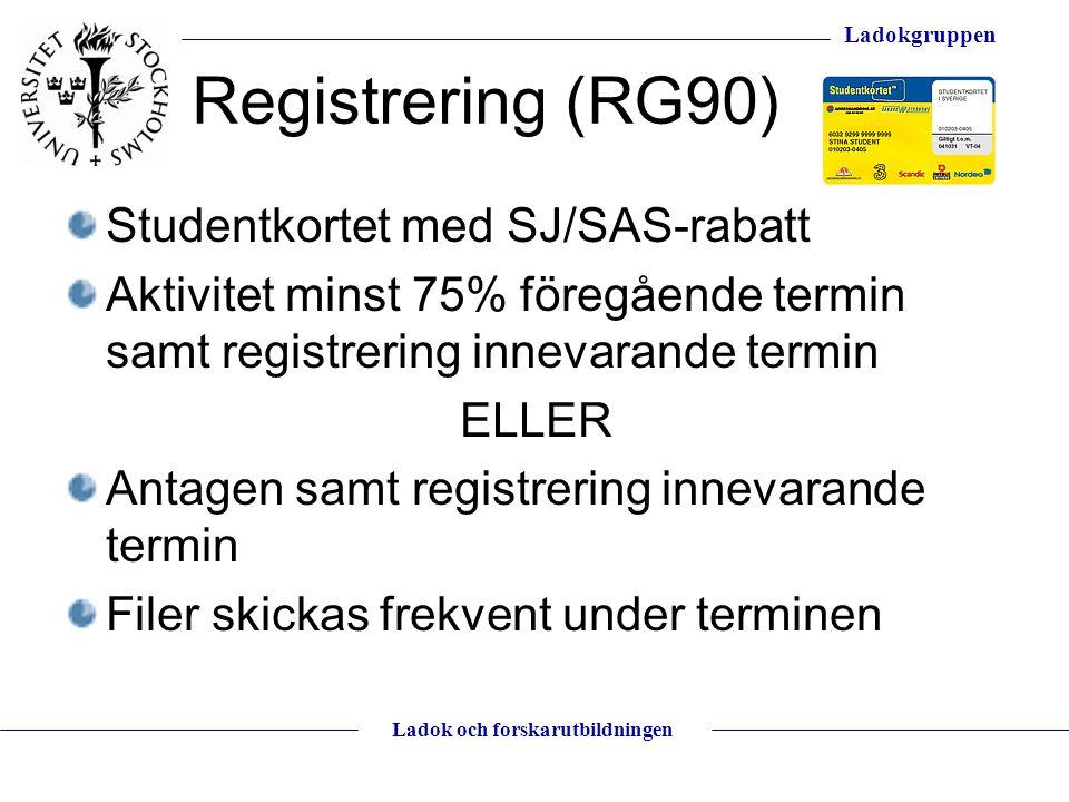 Registrering (RG90) Studentkortet med SJ/SAS-rabatt