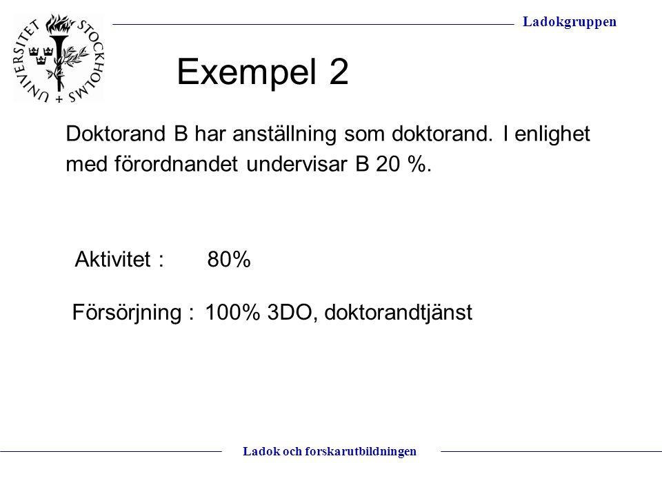 Exempel 2 Doktorand B har anställning som doktorand. I enlighet med förordnandet undervisar B 20 %.
