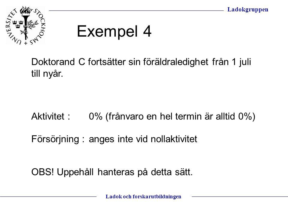 Exempel 4 Doktorand C fortsätter sin föräldraledighet från 1 juli till nyår. Aktivitet : 0% (frånvaro en hel termin är alltid 0%)