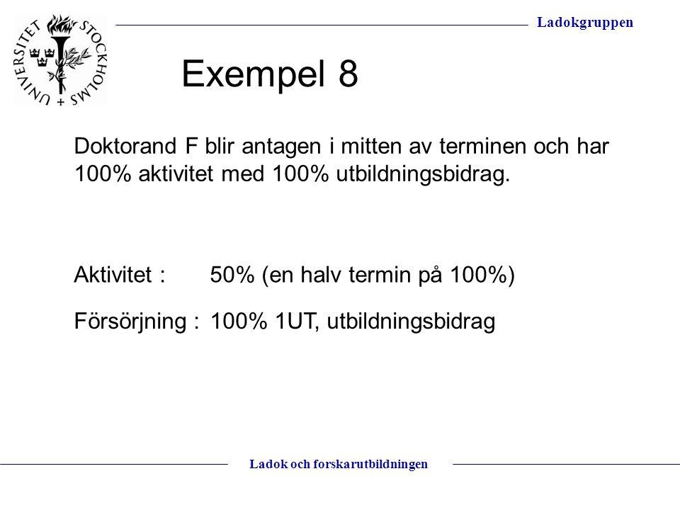 Exempel 8 Doktorand F blir antagen i mitten av terminen och har 100% aktivitet med 100% utbildningsbidrag.