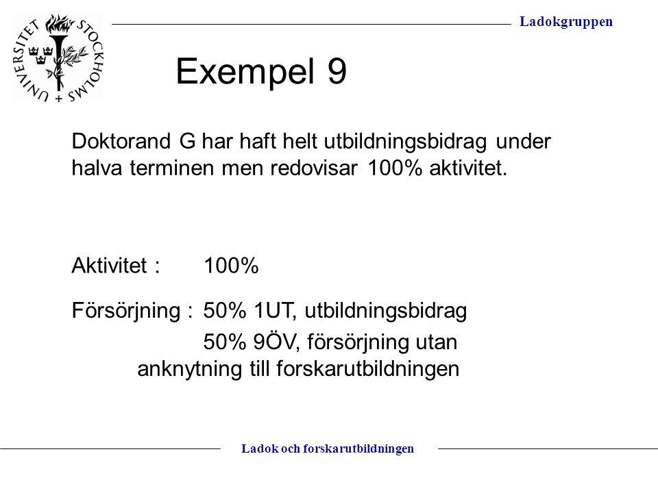 Exempel 9 Doktorand G har haft helt utbildningsbidrag under halva terminen men redovisar 100% aktivitet.