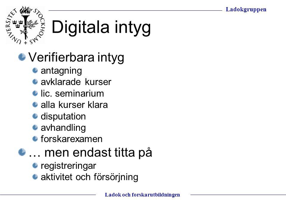 Digitala intyg Verifierbara intyg … men endast titta på antagning