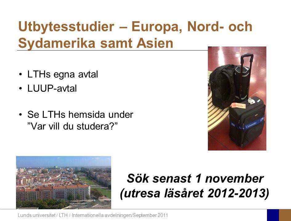 Utbytesstudier – Europa, Nord- och Sydamerika samt Asien