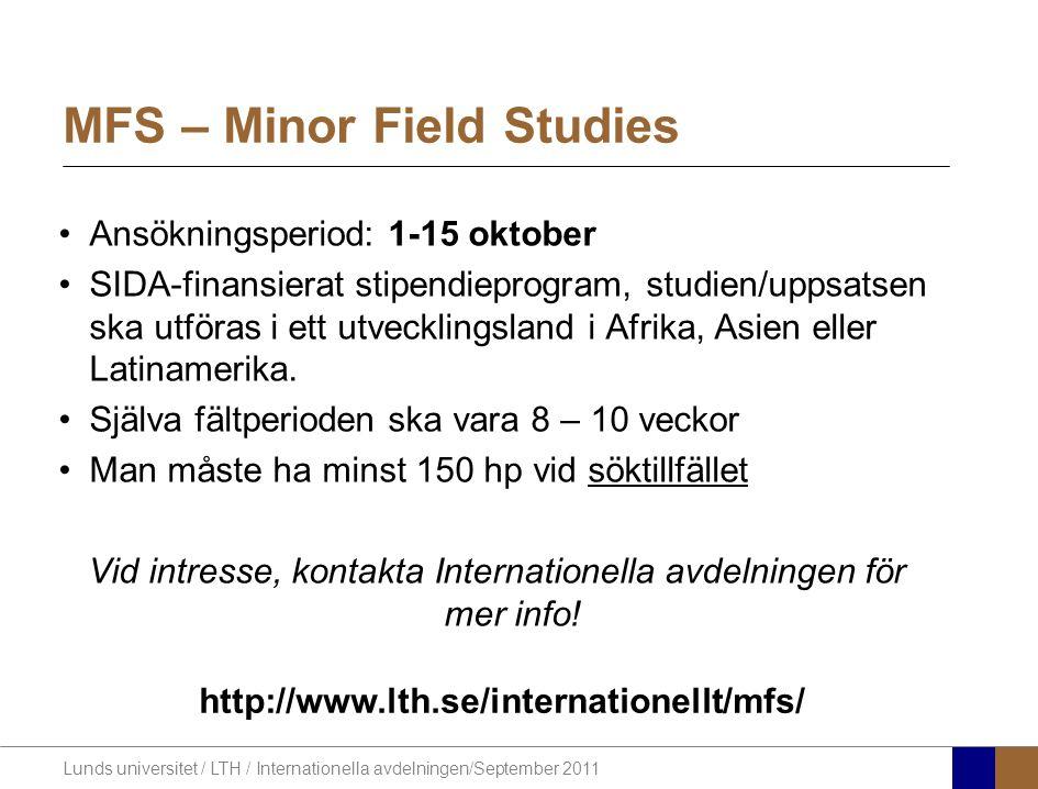 MFS – Minor Field Studies