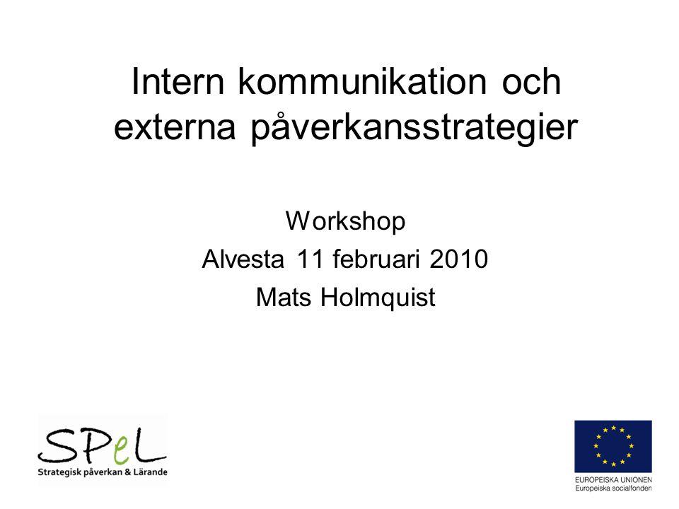 Intern kommunikation och externa påverkansstrategier