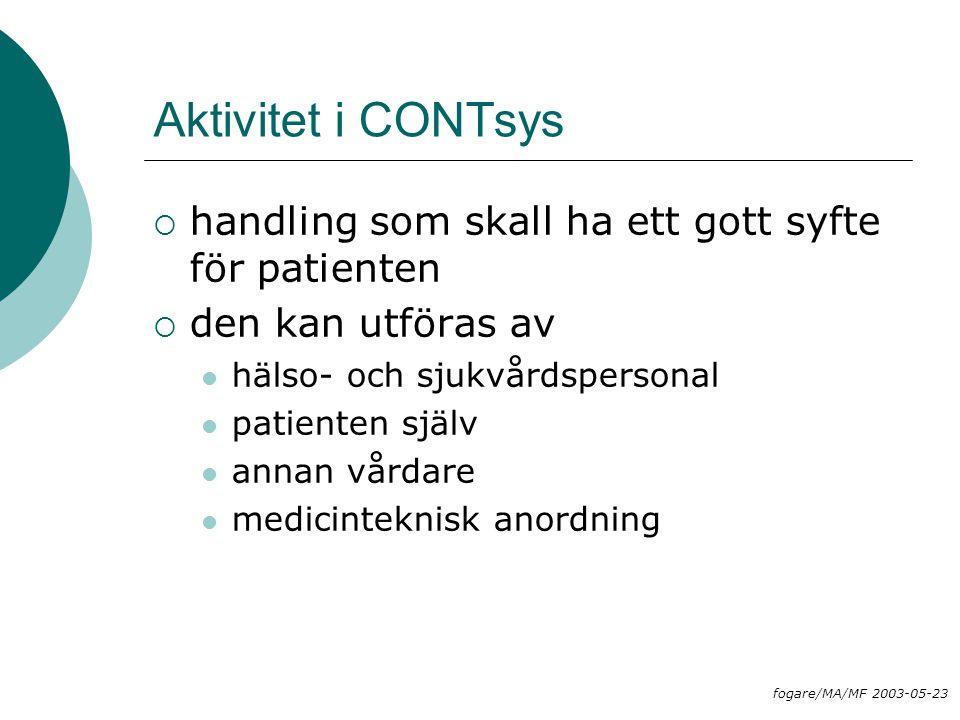 Aktivitet i CONTsys handling som skall ha ett gott syfte för patienten