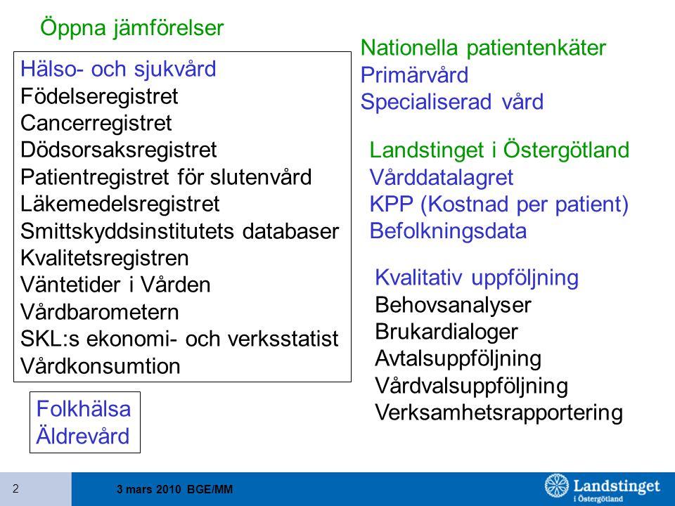 Nationella patientenkäter Primärvård Specialiserad vård