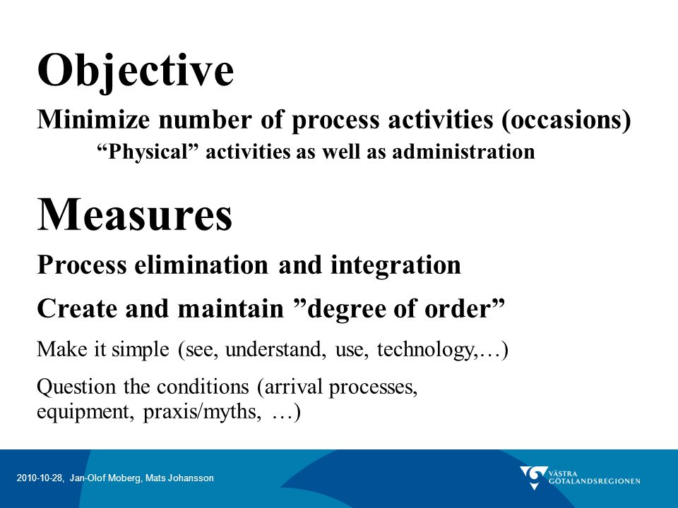Objective Measures Minimize number of process activities (occasions)