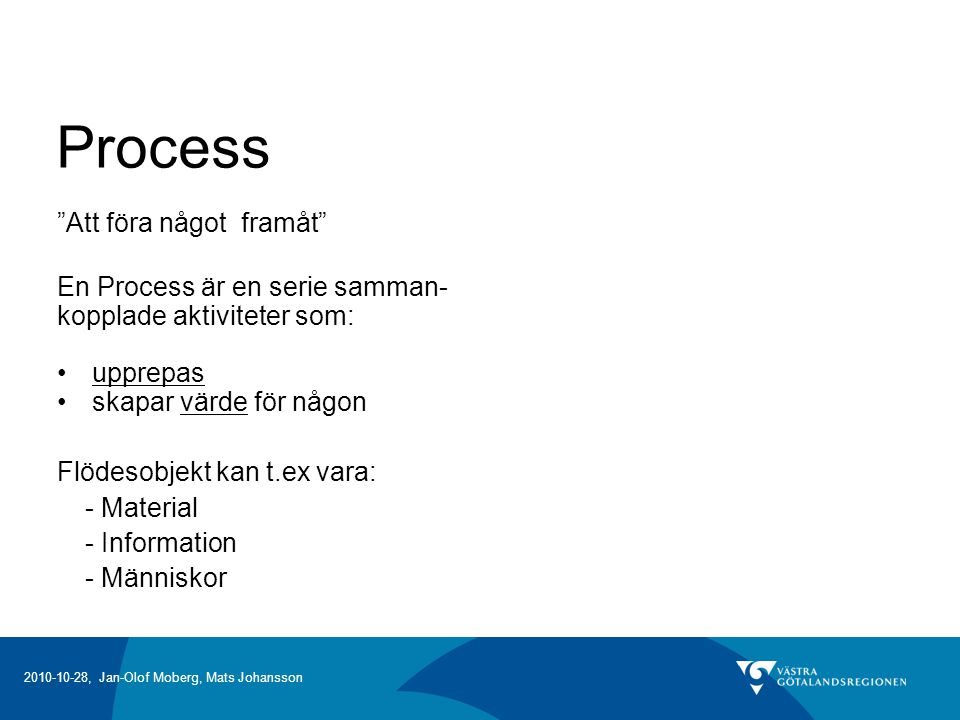 Process Att föra något framåt En Process är en serie samman-