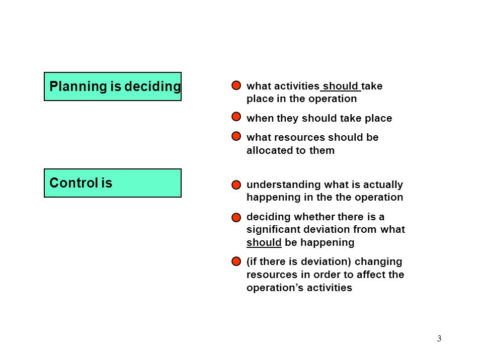 Planning is deciding Control is