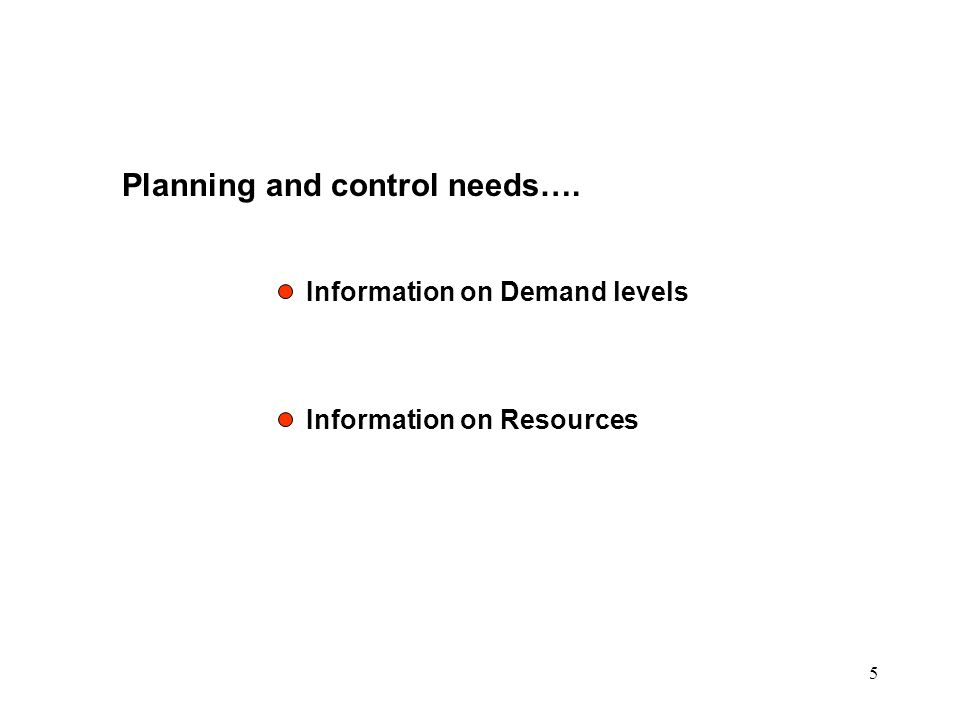 Planning and control needs….