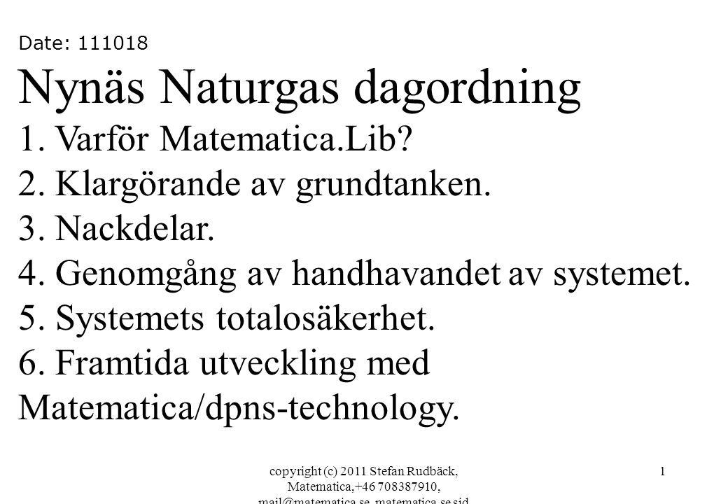 Nynäs Naturgas dagordning