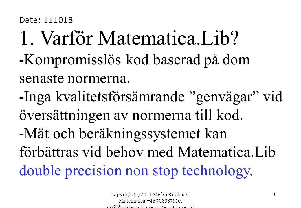 Date: 111018 1. Varför Matematica.Lib -Kompromisslös kod baserad på dom senaste normerna.