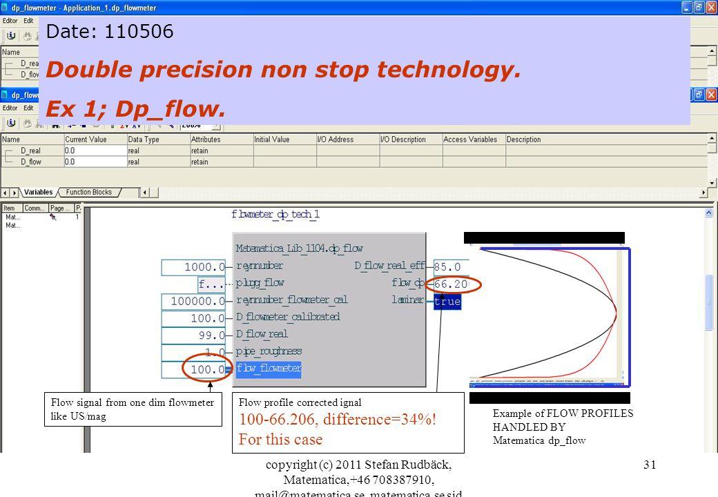 Double precision non stop technology. Ex 1; Dp_flow.