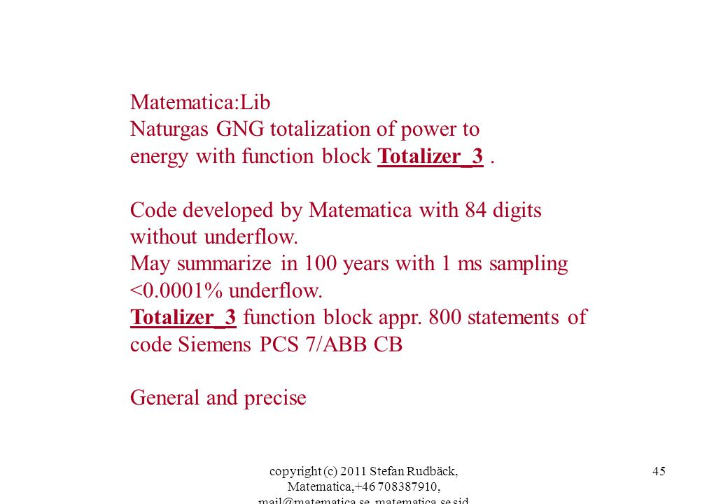 Naturgas GNG totalization of power to