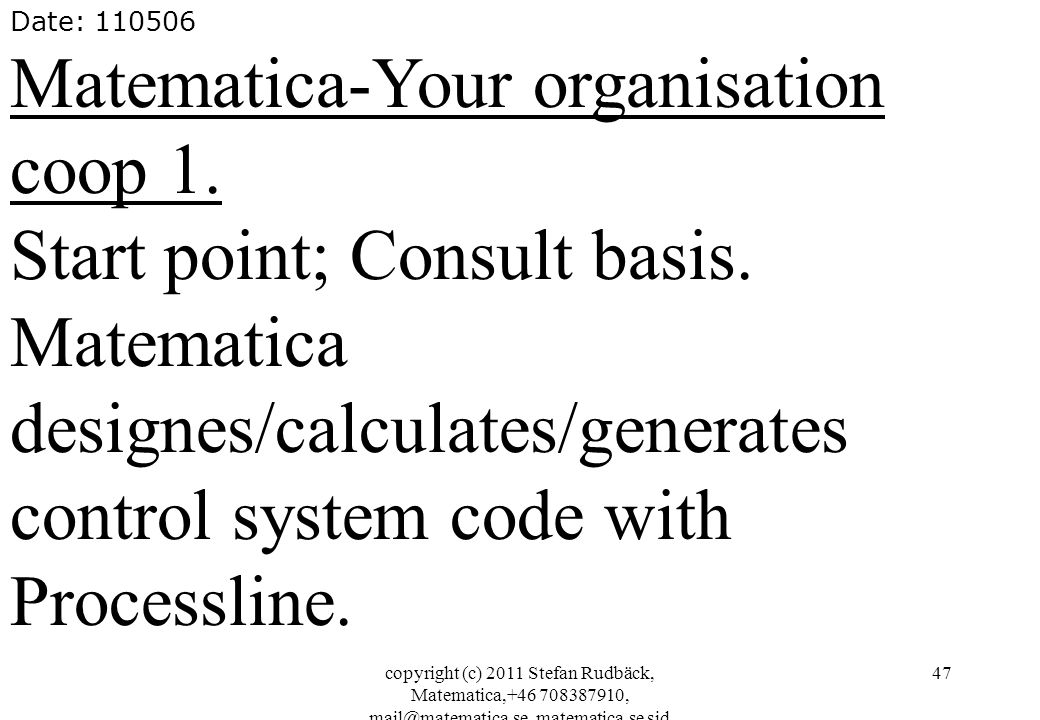 Matematica-Your organisation coop 1. Start point; Consult basis.