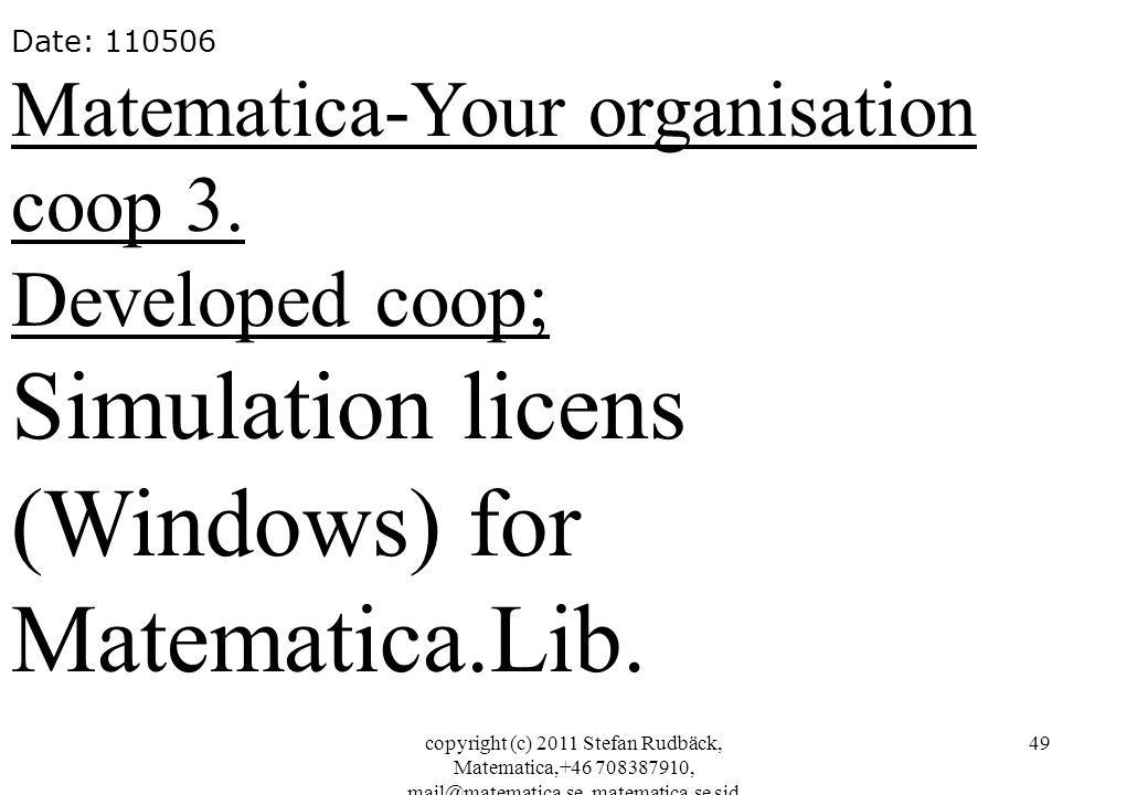 Simulation licens (Windows) for Matematica.Lib.