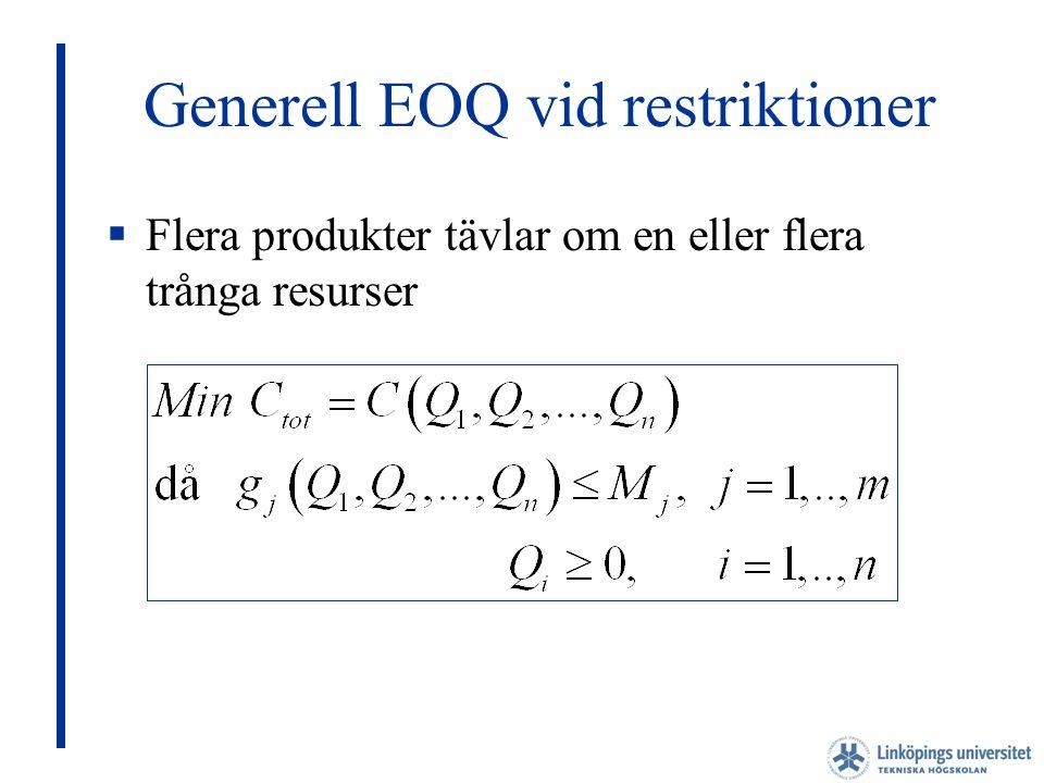 Generell EOQ vid restriktioner