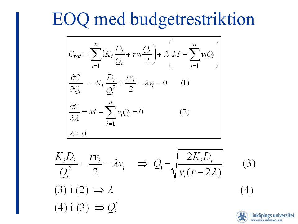 EOQ med budgetrestriktion