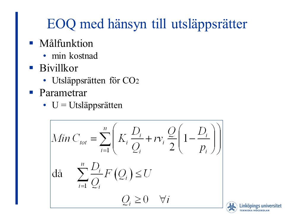 EOQ med hänsyn till utsläppsrätter