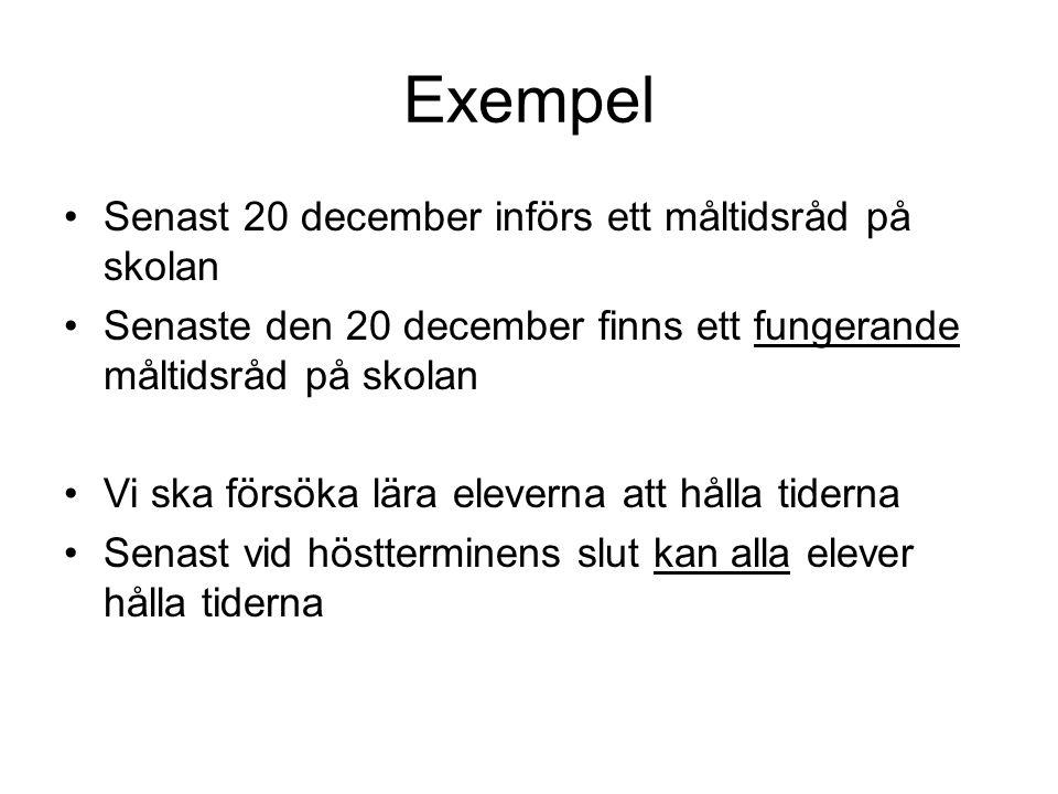 Exempel Senast 20 december införs ett måltidsråd på skolan