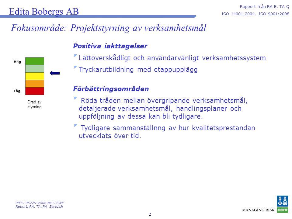 Fokusområde: Projektstyrning av verksamhetsmål