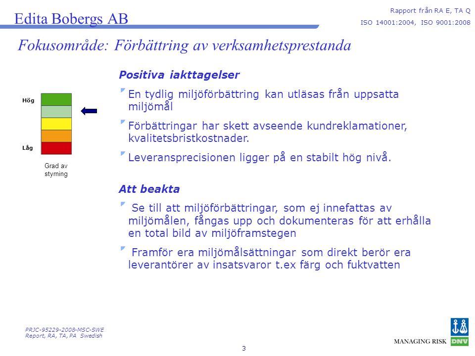 Fokusområde: Förbättring av verksamhetsprestanda