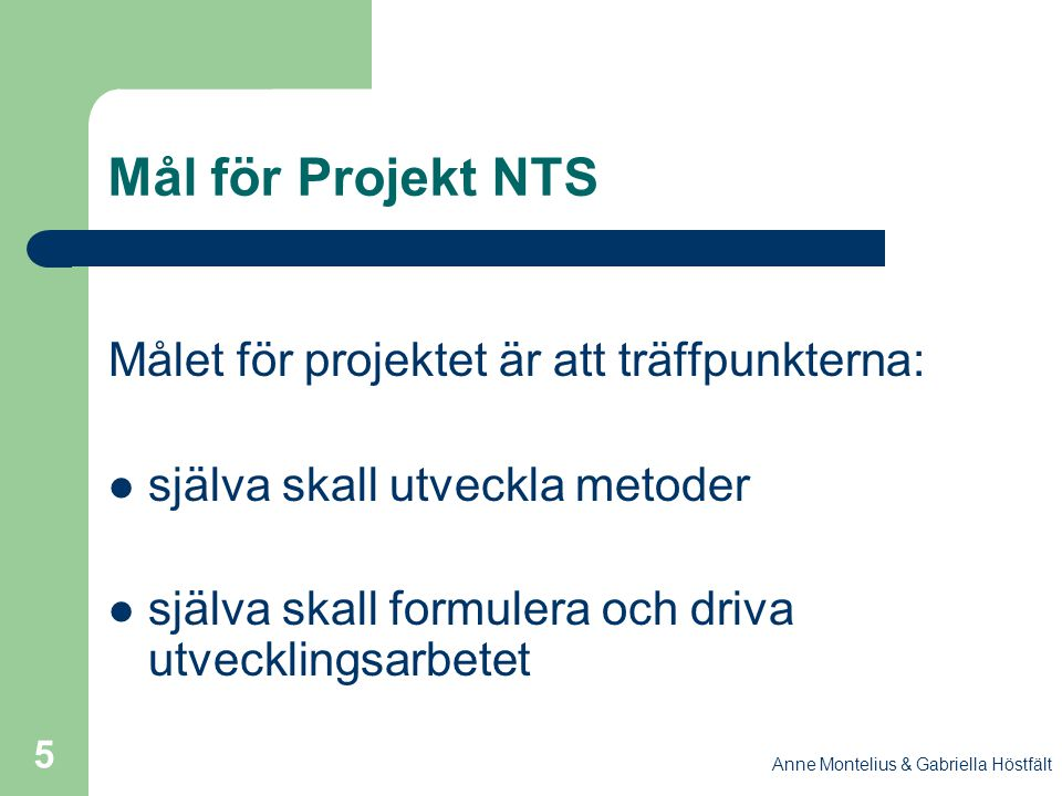 Mål för Projekt NTS Målet för projektet är att träffpunkterna: