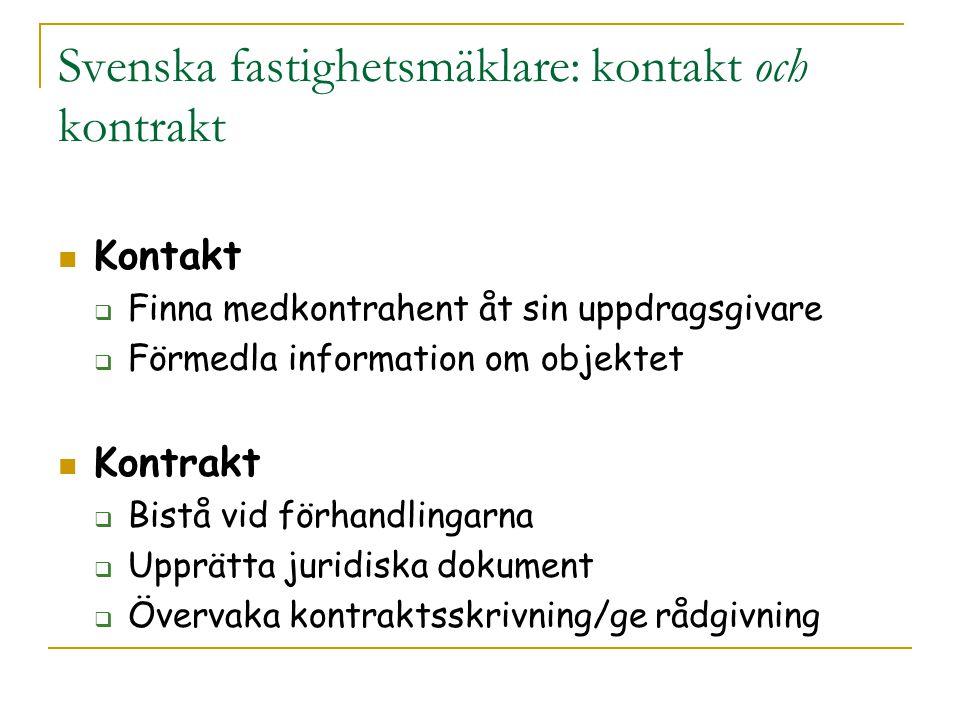 Svenska fastighetsmäklare: kontakt och kontrakt