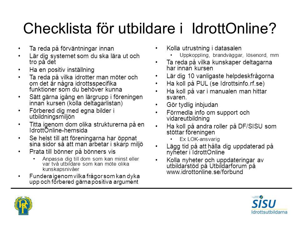 Checklista för utbildare i IdrottOnline
