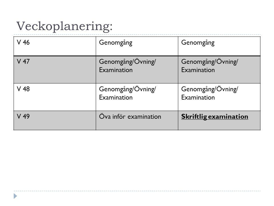 Veckoplanering: V 46 Genomgång V 47 Genomgång/Övning/ Examination V 48
