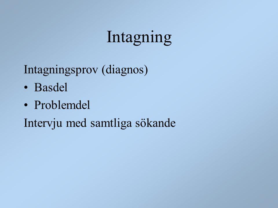 Intagning Intagningsprov (diagnos) Basdel Problemdel