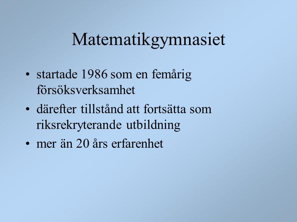 Matematikgymnasiet startade 1986 som en femårig försöksverksamhet