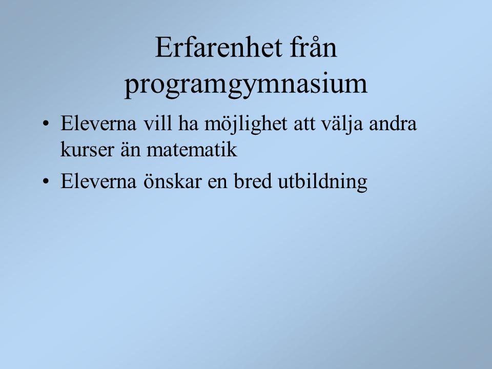 Erfarenhet från programgymnasium