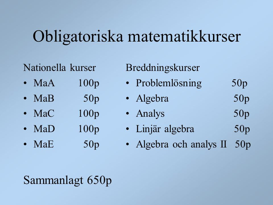 Obligatoriska matematikkurser