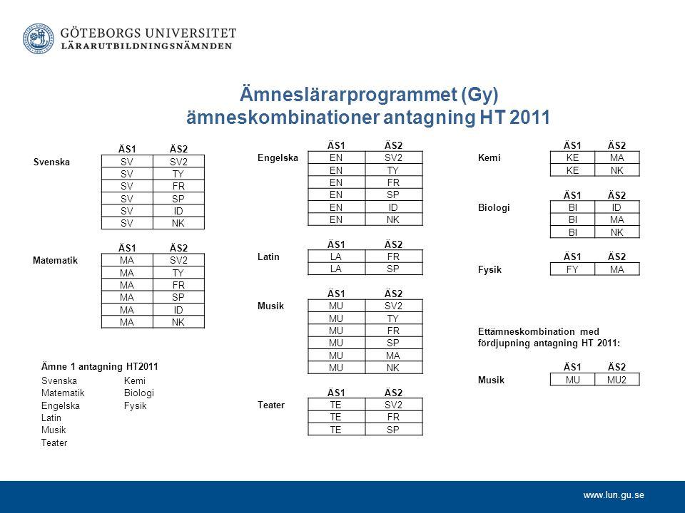 Ämneslärarprogrammet (Gy) ämneskombinationer antagning HT 2011