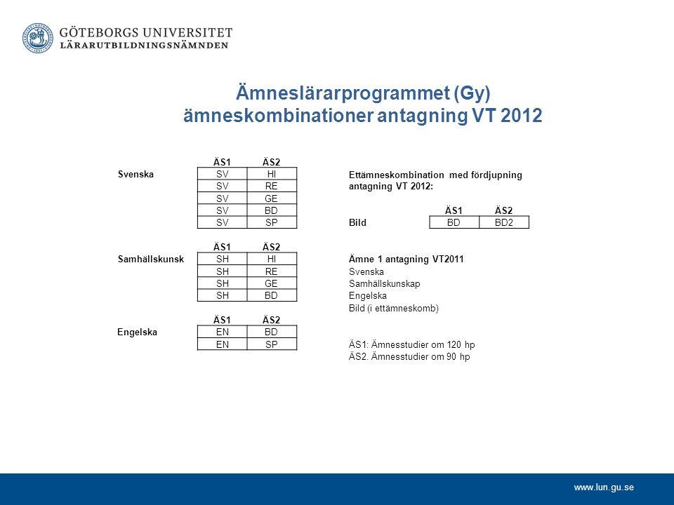 Ämneslärarprogrammet (Gy) ämneskombinationer antagning VT 2012