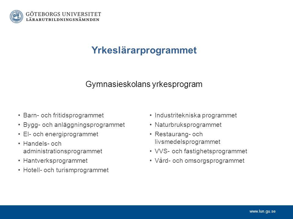 Yrkeslärarprogrammet Gymnasieskolans yrkesprogram