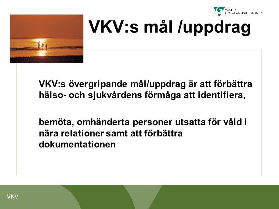 VKV:s mål /uppdrag VKV:s övergripande mål/uppdrag är att förbättra hälso- och sjukvårdens förmåga att identifiera,