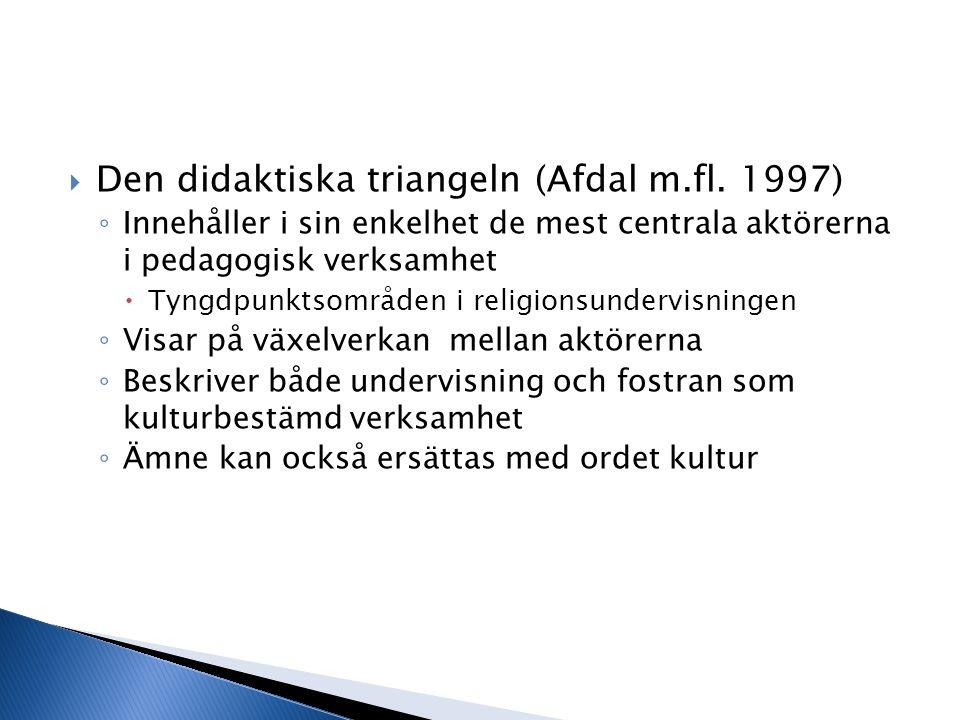 Den didaktiska triangeln (Afdal m.fl. 1997)