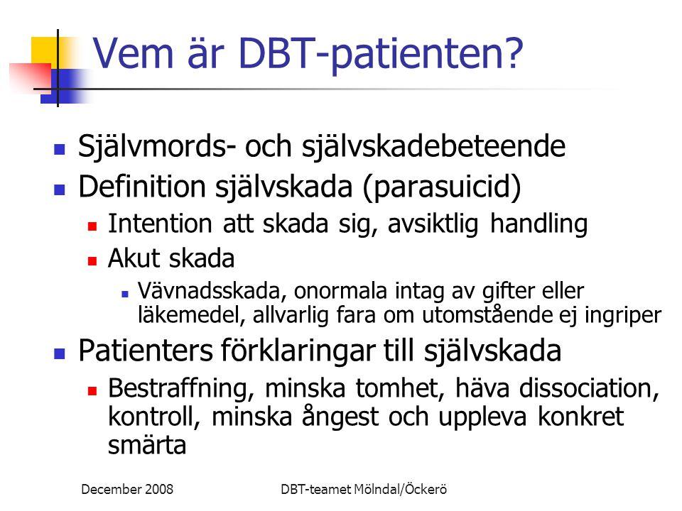 Vem är DBT-patienten Självmords- och självskadebeteende