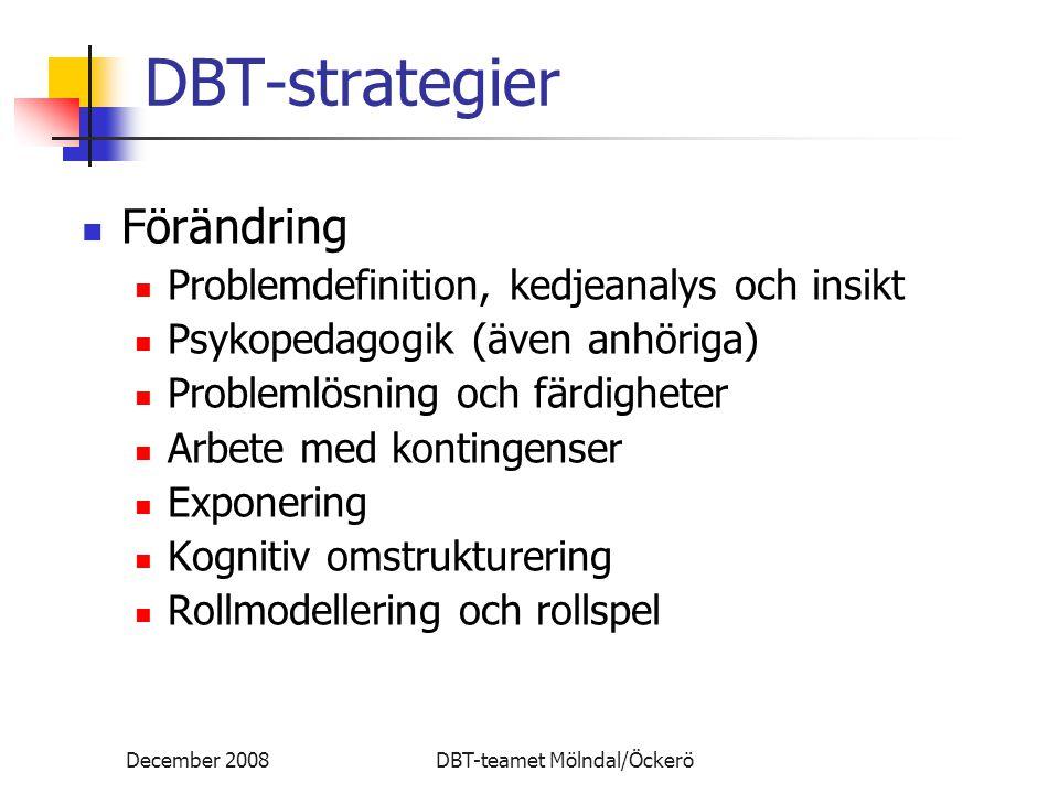 DBT-strategier Förändring Problemdefinition, kedjeanalys och insikt